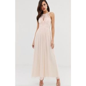 NEW Little Mistress Lace Pearl Tulle Maxi Dress